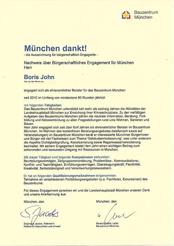 Urkunde mit Beschreibung der Tätigkeit und Kompetenzen